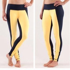 Lululemon navy & yellow wunder under pants